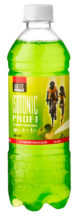 Напиток изотонический ATHLETIC NUTRITION ISOTONIC PROFI - зеленое яблоко, 500 мл, негазированный