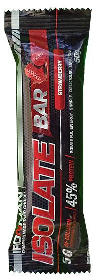 Высокопротеиновый батончик Isolate Bar IRONMAN 50 грамм - Клубника