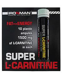 Жиросжигатель Супер L-карнитин 1500 IRONMAN, 10 флаконов по 25 мл