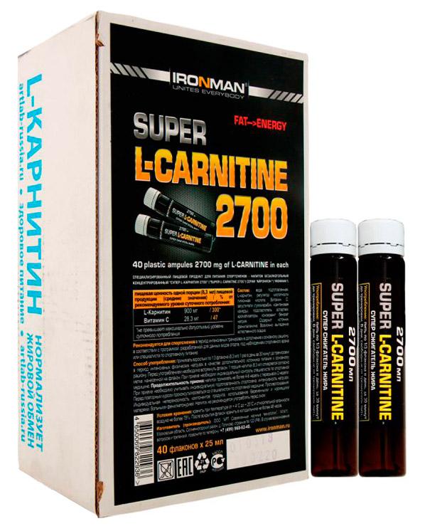 Сжигатель жира Супер L-карнитин 2700 IRONMAN 40 флаконов по 25 мл