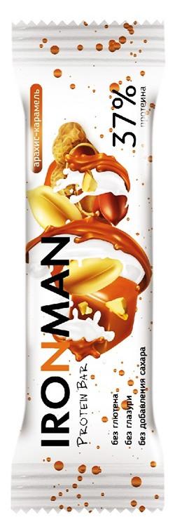 Протеиновый батончик 37% Protein Bar IRONMAN без сахара и глютена 50 грамм, арахис